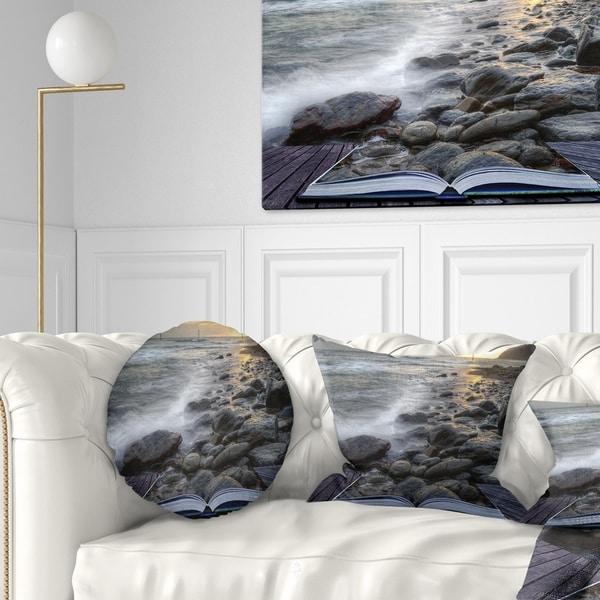 Designart 'Open Book to the Evening Sea' Contemporary Throw Pillow