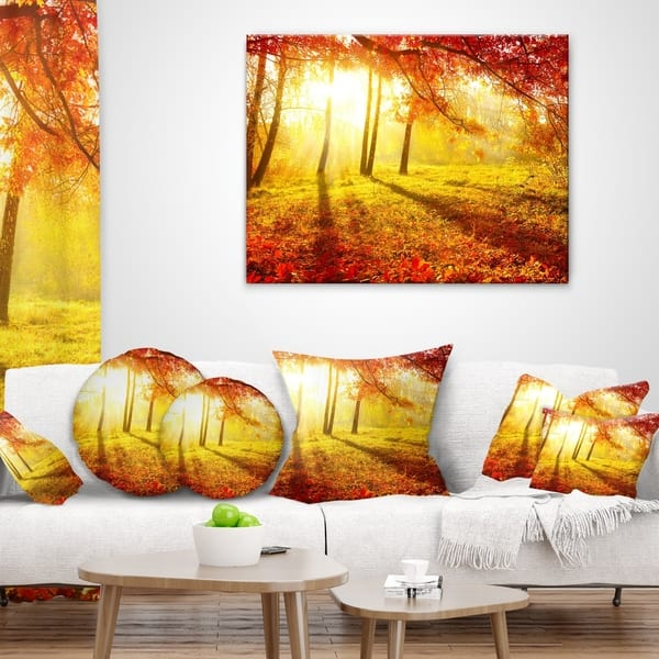 Designart Autumnal Park Landscape Photography Throw Pillow On Sale Overstock 20890067