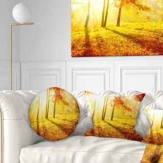 Designart 'Autumnal Park' Landscape Photography Throw Pillow