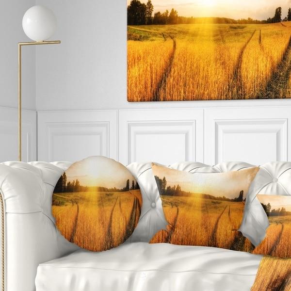 Designart 'Wheat Field at Sunset Panorama' Photography Throw Pillow