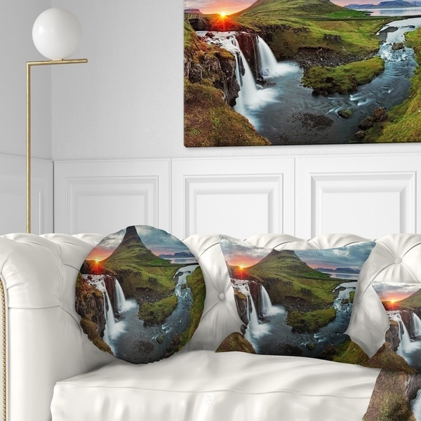 Sofa Throw Pillow 12 in Insert Printed On Both Side in x 20 in Designart CU7026-12-20 Iceland Landscape Spring Panorama Lumbar Cushion Cover for Living Room