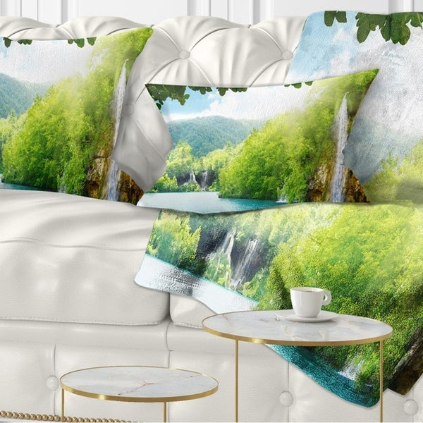 Designart 'Waterfall in Deep Forest' Landscape Photography Throw Pillow
