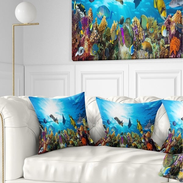 Designart 'Colorful Coral Reef with Fishes' Seascape Throw Pillow