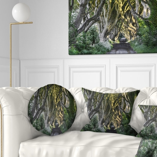 Designart 'The Dark Hedges Ireland Landscape' Photography Throw Pillow