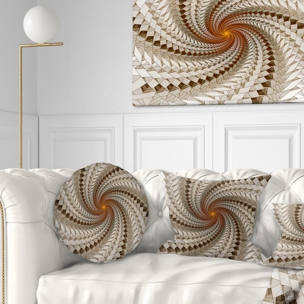 Designart 'White Fractal Spiral Pattern' Abstract Throw Pillow