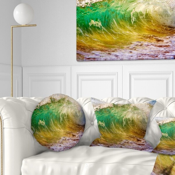 Designart 'Ocean Turning Green' Seascape Throw Pillow