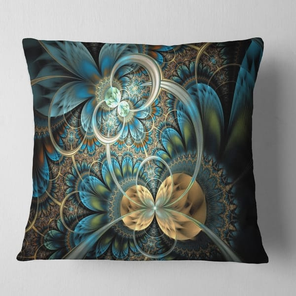 Designart Symmetrical Blue Gold Fractal Flower Abstract Throw Pillow On Sale Overstock 20890110