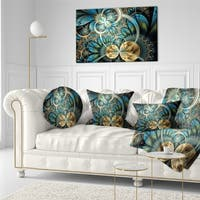 Designart 'Symmetrical Blue Gold Fractal Flower' Abstract Throw Pillow