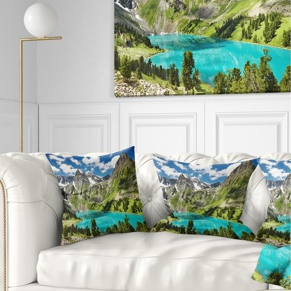 Designart 'Mountain Lake and Blue Sky' Photography Throw Pillow