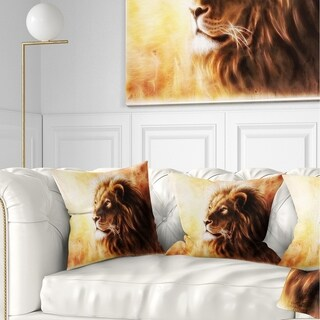 Designart 'Brown Lion Fractal' Animal Throw Pillow