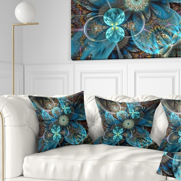 Designart 'Fractal Blue Flowers' Floral Throw Pillow