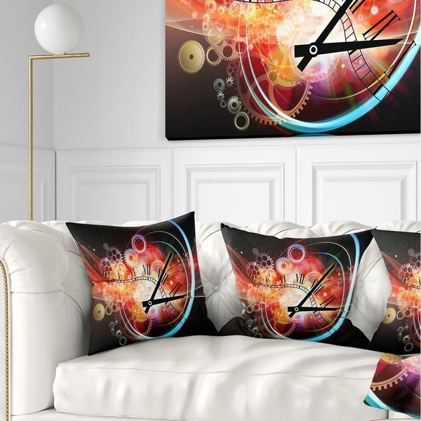 Designart 'Interesting Clock' Contemporary Throw Pillow