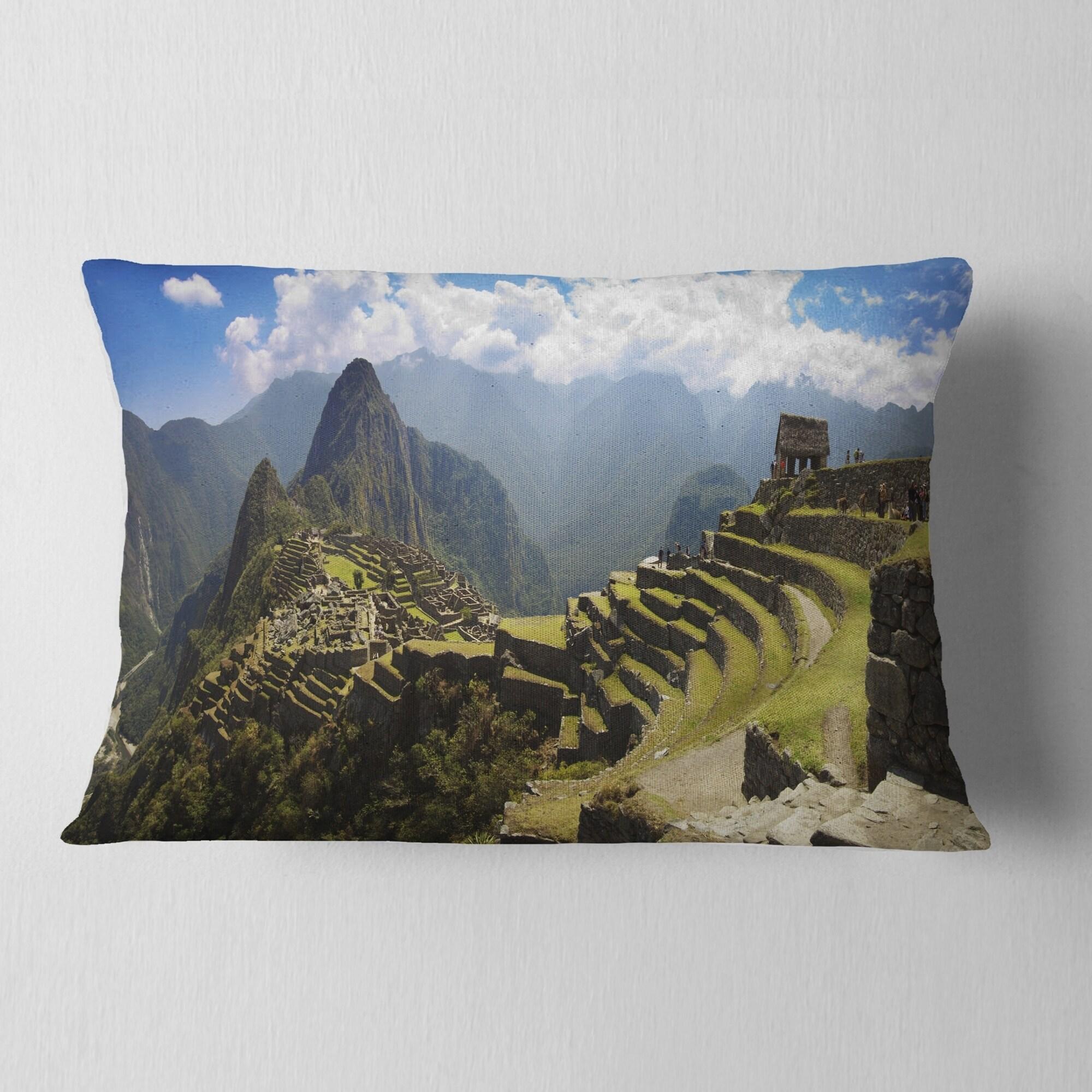 Designart Machu Picchu Panorama Landscape Photo Throw Pillow On Sale Overstock 20890125