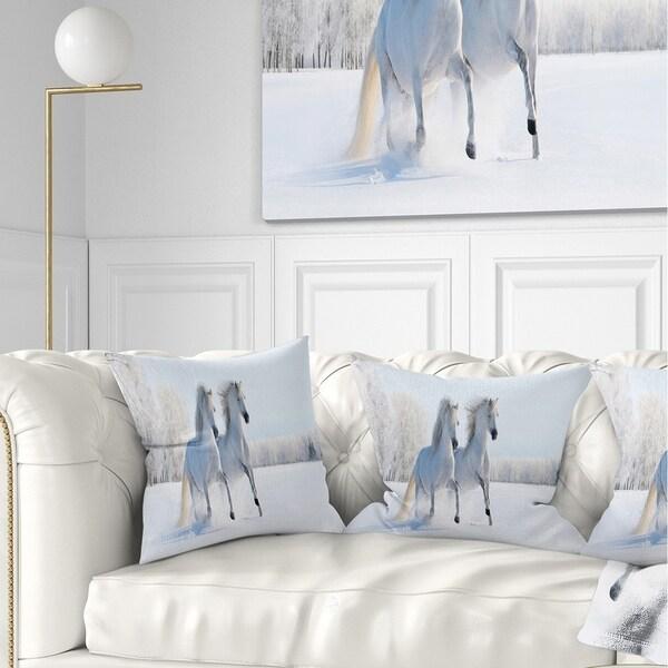 Designart 'Two Galloping White Ponies' Animal Photo Throw Pillow