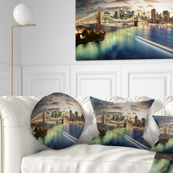 Designart 'New York Under Cloudy Skies' Cityscape Photo Throw Pillow