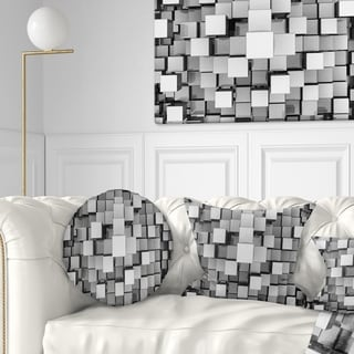 Designart 'Black and Grey Cubes' Contemporary Throw Pillow