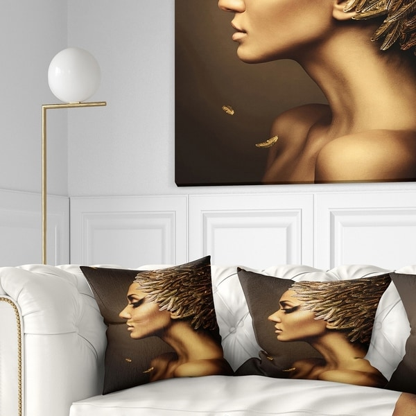 Designart 'Woman with Gold Feather Hat' Contemporary Throw Pillow