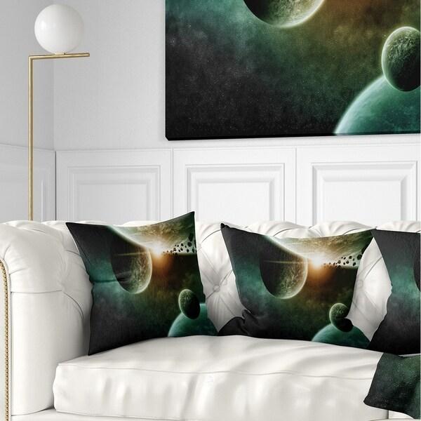 Designart 'Space Planet Illustration' Contemporary Throw Pillow