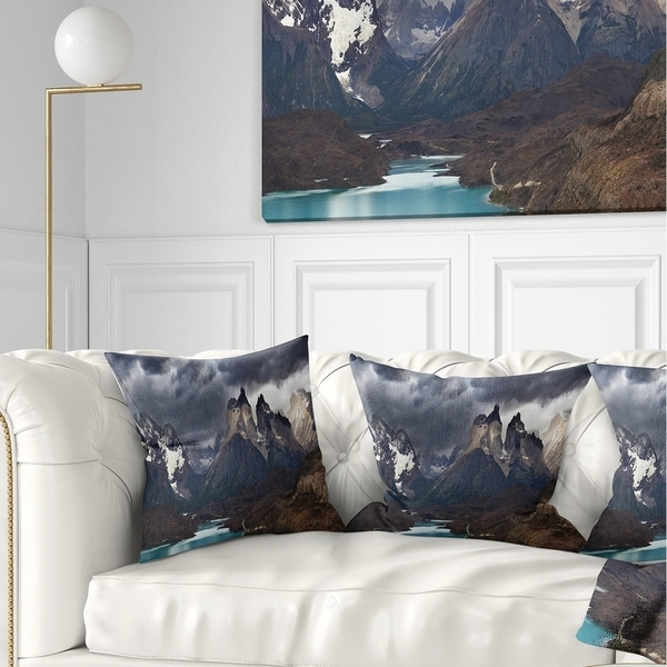 Designart 'Torres Del Paine Cuernos Mountains' Photography Throw Pillow