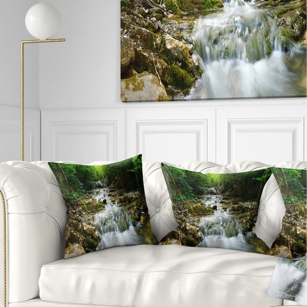Designart 'Natural Spring Waterfall' Landscape Photography Throw Pillow
