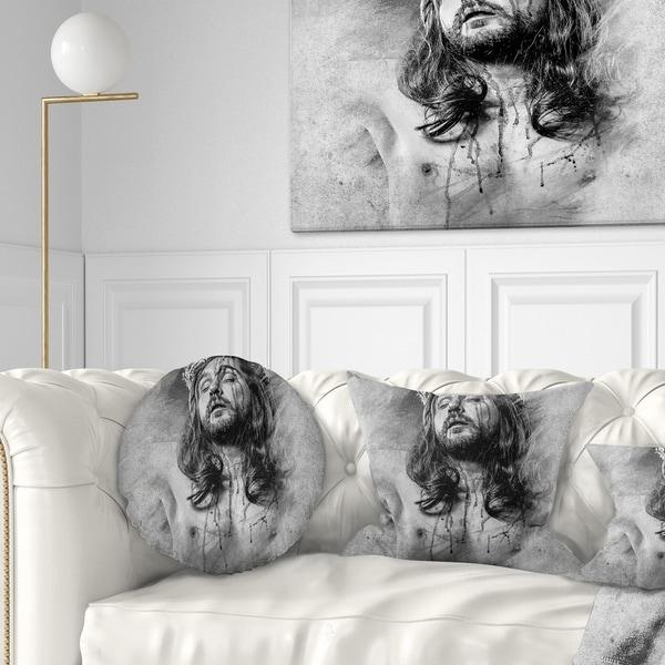 Designart 'Jesus Christ' Abstract Portrait Throw Pillow
