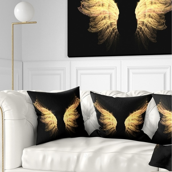 Designart 'Hell Gold Wings' Abstract Throw Pillow