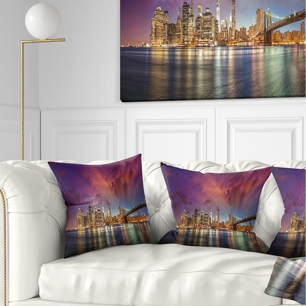 Designart 'New York City Manhattan Skyline Red' Cityscape Photo Throw Pillow