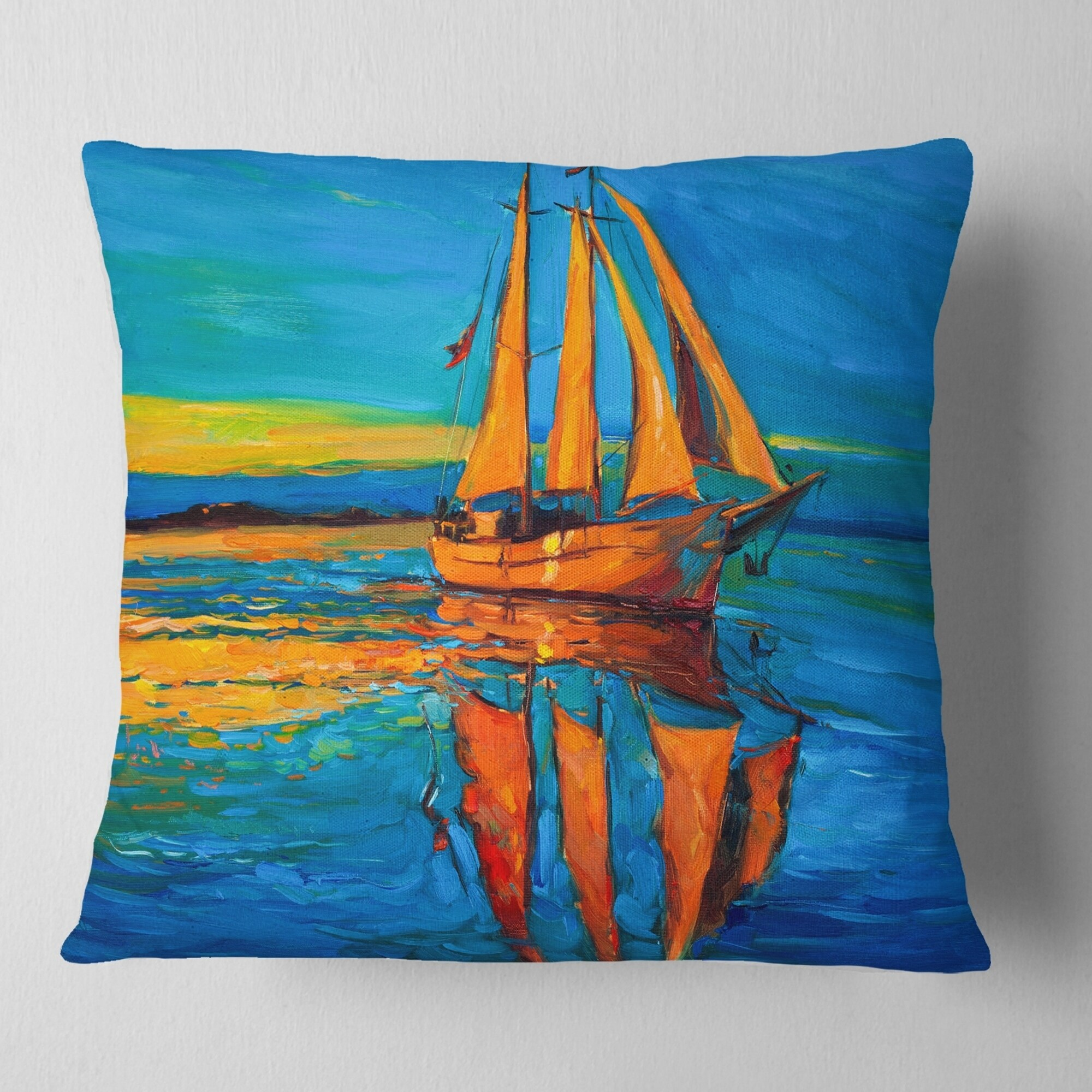 Designart Brown Sailing Boat Seascape Throw Pillow On Sale Overstock 20890193