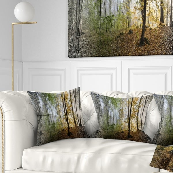 Designart 'Morning Forest Panoramic View' Landscape Photography Throw Pillow