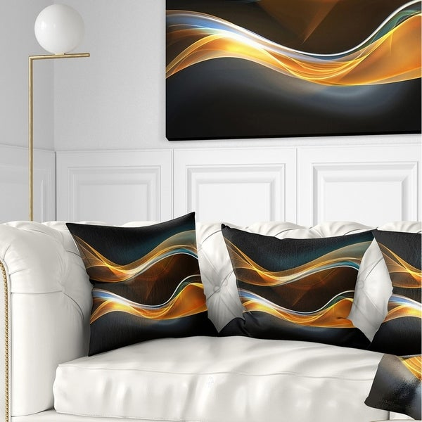 Designart '3D Gold Waves in Black' Abstract Throw Pillow
