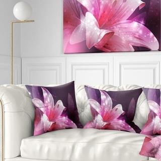 Designart 'Shining Pink Fractal Flower' Floral Throw Pillow