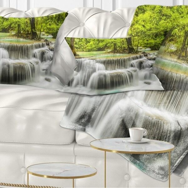 Designart 'Erawan Waterfall View' Photography Throw Pillow