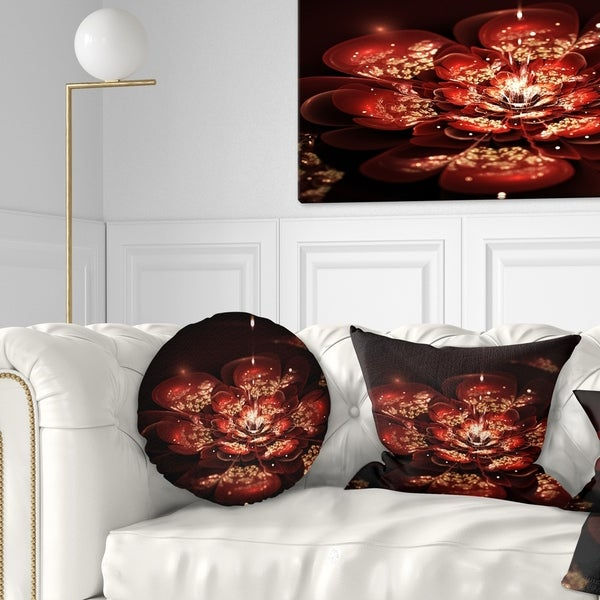 Designart 'Red Flowers in Fractal Pattern' Floral Throw Pillow
