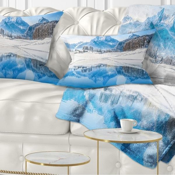 Designart 'Winter Mountain Lake in Alps' Landscape Photography Throw Pillow