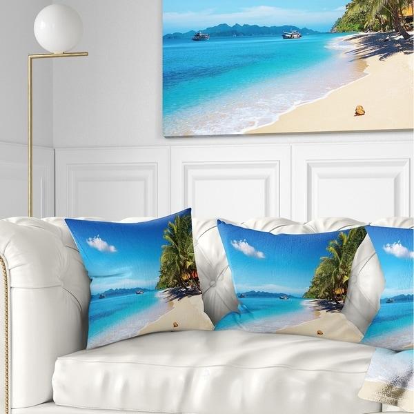 Designart 'Tropical Beach Thailand' Photography Throw Pillow