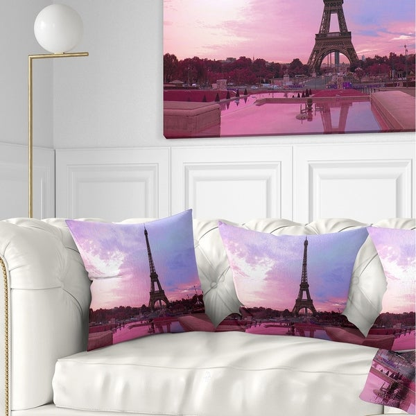 Designart 'Paris Eiffel Towerin Purple Tone' Landscape Photography Throw Pillow