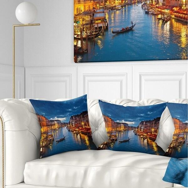 Designart 'Grand Canal at Night Venice' Cityscape Photo Throw Pillow