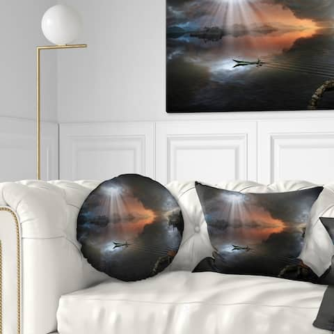 Designart 'High Water Photo Collage' Seascape Throw Pillow