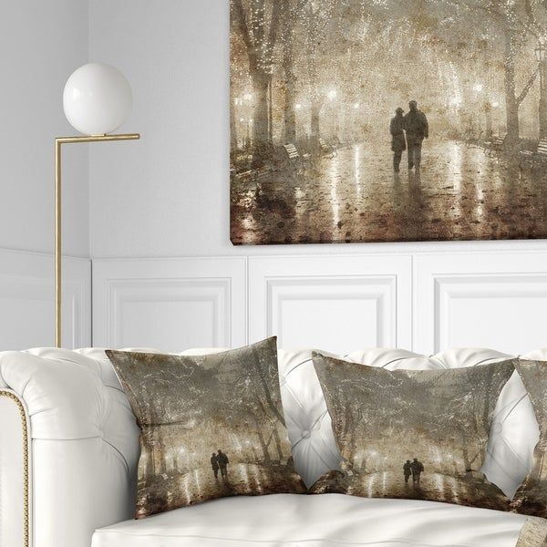 Designart 'Couple Walking in Night Lights' Landscape Photography Throw Pillow