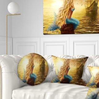 Designart 'Sea Mermaid with Ghost Ship' Seascape Throw Pillow