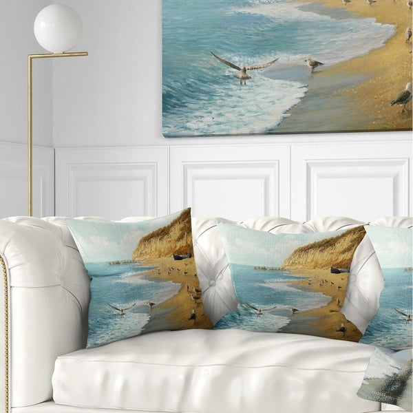 Designart 'The Calm Beach' Landscape Painting Throw Pillow