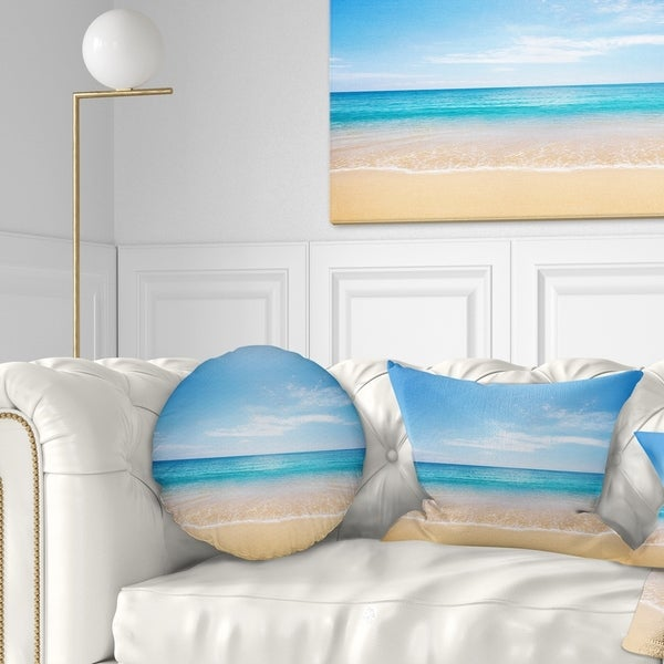 Designart 'Wide Blue Sky Over Beach' Seashore Photo Throw Pillow