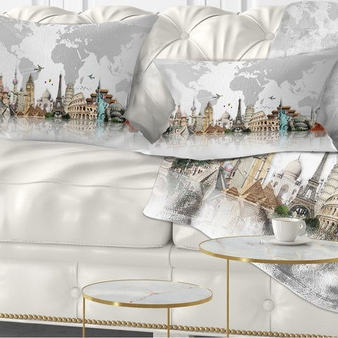 Designart 'Famous Monuments Across World' Throw Pillow