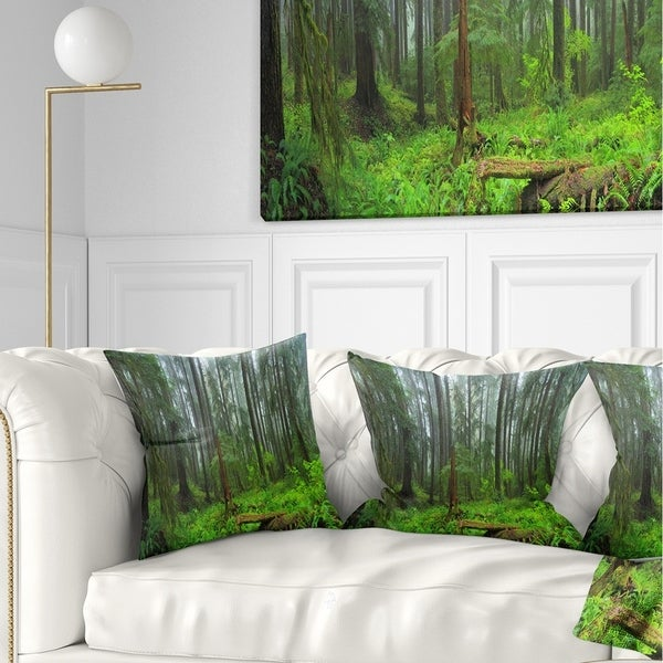 Designart 'Hoh Rain Forest' Landscape Photography Throw Pillow