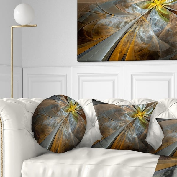 Designart 'Symmetrical Yellow Fractal Flower' Abstract Throw Pillow