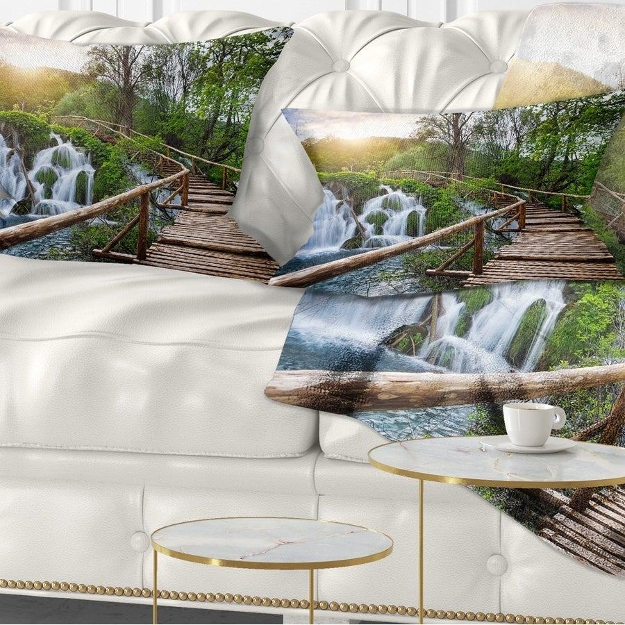 Designart Pathway In Plitvice Lakes Landscape Photography Throw Pillow On Sale Overstock 20890298
