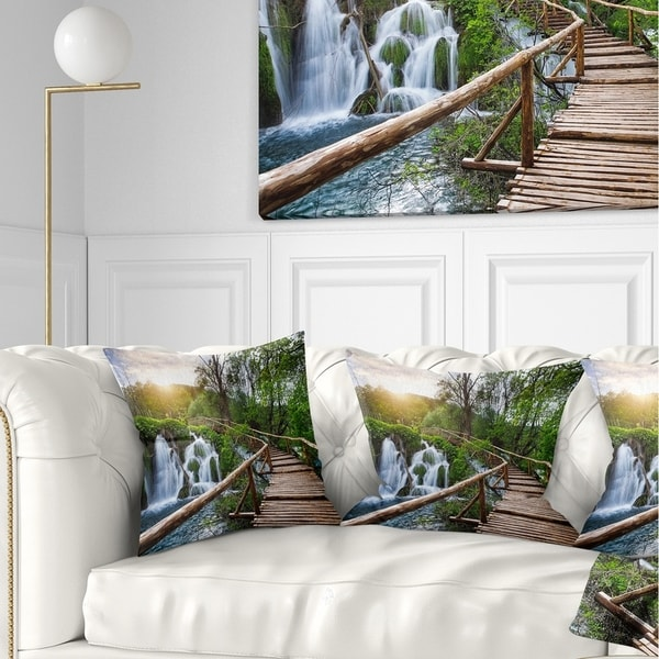 Designart 'Pathway in Plitvice Lakes' Landscape Photography Throw Pillow