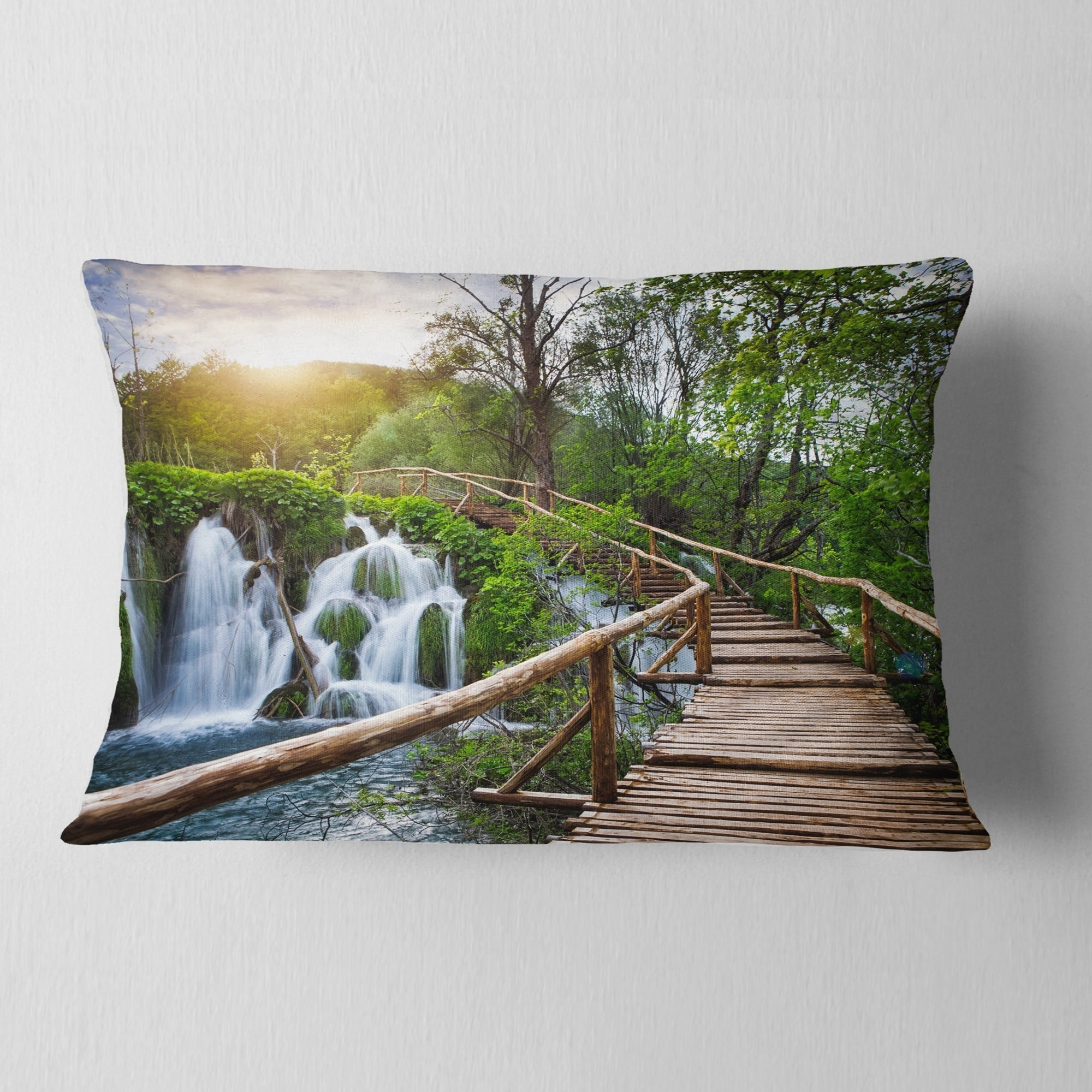 Designart Pathway In Plitvice Lakes Landscape Photography Throw Pillow Overstock 20890298