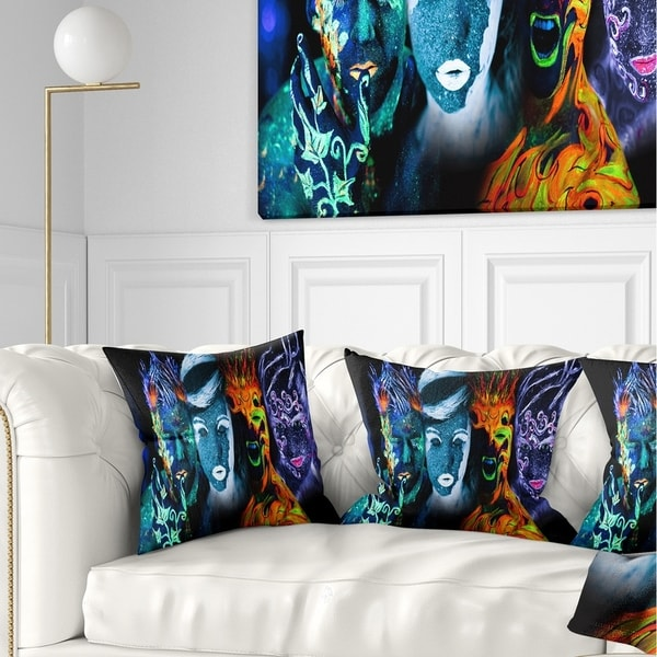 Designart 'Earth Fire Air and Water' Contemporary Portrait Throw Pillow