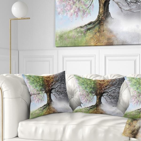 Designart 'Tree with Four Seasons' Tree Painting Throw Pillow